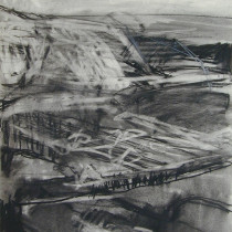 'Cliff-face-I',-charcoal-and-pastel-on-paper,-40-x-30cm