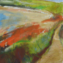 'Path-to-Sennen-Cove-from-Land's-End',-gouache,-acrylic-and-watercolour-pencil-on-card,-29x26cm