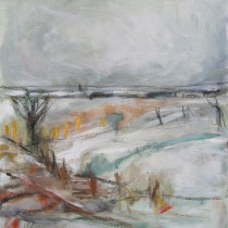 'Trudging-Over-Snow',-oil-and-charcoal-on-canvas,-37-x-32cm