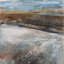 'Seaspray,-Newlyn-Beach',-gouache,-acrylic-and-watercolour-pencil-on-card,-29-x-25cm