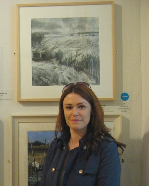 Janine Baldwin with her artwork 'After the Rain' at the Pastel Society UK Annual Exhibition